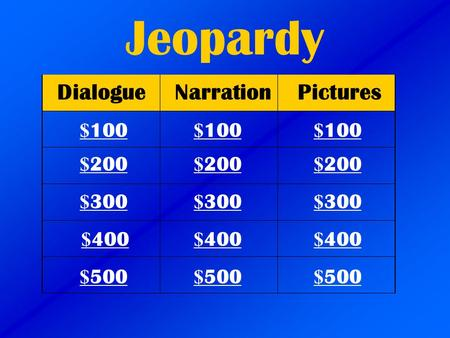 Jeopardy DialogueNarrationPictures $ 100 $ 200 $ 300 $ 400 $ 500 $ 100 $ 100 $ 200 $ 200 $ 300 $ 300 $ 400 $ 400 $ 500 $ 500.