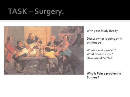 With your Study Buddy. Discuss what is going on in this image. When was it painted? What does it show? How would he feel? Why is Pain a problem in Surgery?