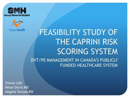 FEASIBILITY STUDY OF THE CAPRINI RISK SCORING SYSTEM DVT/PE MANAGEMENT IN CANADA'S PUBLICLY FUNDED HEALTHCARE SYSTEM Trevor Gill Peter Doris MD Angela.