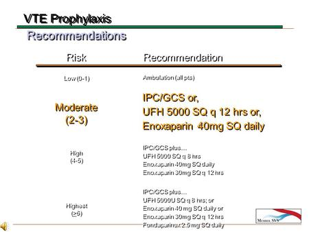 RecommendationsRecommendations Risk Recommendation Ambulation (all pts) IPC/GCS or, UFH 5000 SQ q 12 hrs or, Enoxaparin 40mg SQ daily IPC/GCS or, UFH 5000.