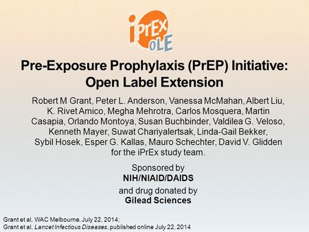 Pre-Exposure Prophylaxis (PrEP) Initiative: Open Label Extension Robert M Grant, Peter L. Anderson, Vanessa McMahan, Albert Liu, K. Rivet Amico, Megha.