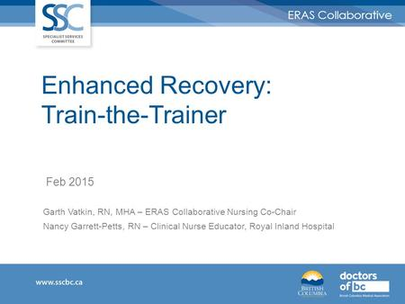 Enhanced Recovery: Train-the-Trainer