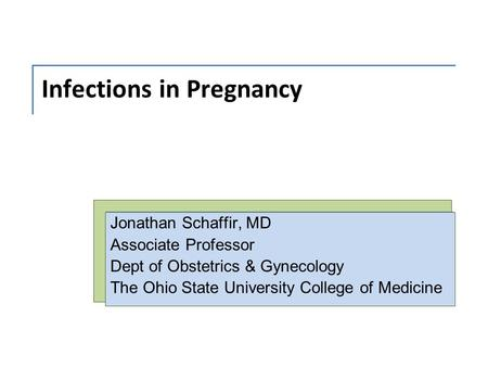 Infections in Pregnancy Jonathan Schaffir, MD Associate Professor Dept of Obstetrics & Gynecology The Ohio State University College of Medicine.