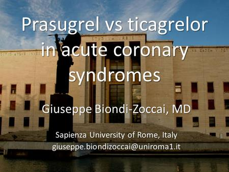 Prasugrel vs ticagrelor in acute coronary syndromes