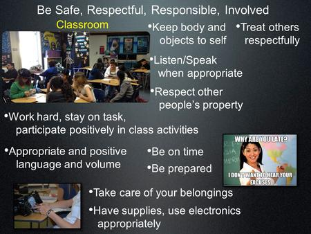 Be Safe, Respectful, Responsible, Involved Keep body and objects to self Listen/Speak when appropriate Treat others respectfully Respect other people's.