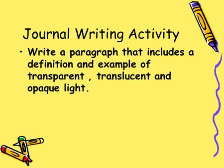 Journal Writing Activity