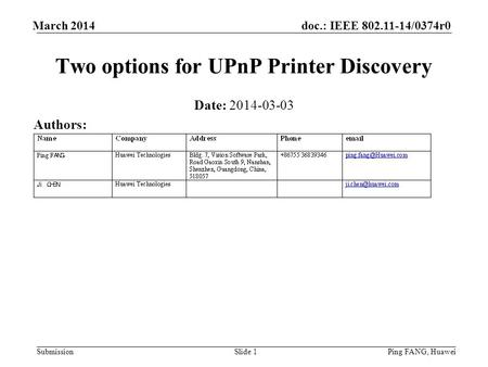 Doc.: IEEE 802.11-14/0374r0 Submission March 2014 Ping FANG, HuaweiSlide 1 Two options for UPnP Printer Discovery Date: 2014-03-03 Authors: