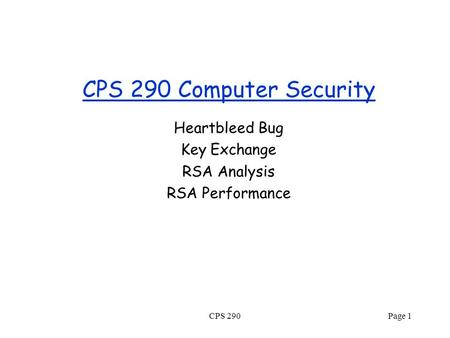 CPS 290 Computer Security Heartbleed Bug Key Exchange RSA Analysis RSA Performance CPS 290Page 1.