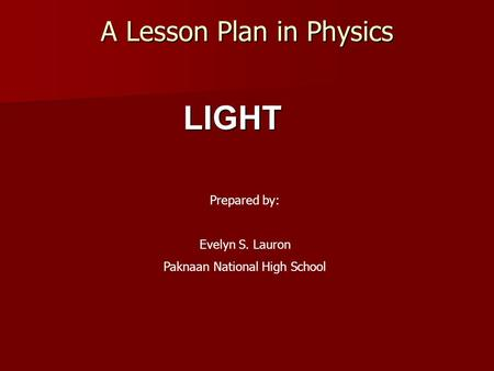A Lesson Plan in Physics