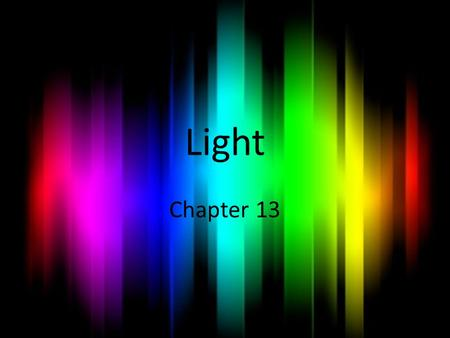 Light Chapter 13. Ch13 Sec 1 The Behavior of Light.
