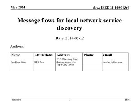 Submission doc.: IEEE 11-14/0643r0 Message flows for local network service discovery Date: 2014-05-12 Authors: May 2014 HTC1.