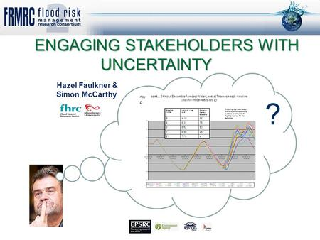 Funders: EPSRC Grant: EP/FP202511/1 www.floodrisk.org.uk ENGAGING STAKEHOLDERS WITH UNCERTAINTY ENGAGING STAKEHOLDERS WITH UNCERTAINTY Hazel Faulkner &