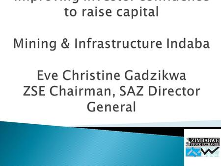  Background  Brief outline of the ZSE  What are the investor concerns?  Raising capital by dealing in shares, bonds and other long-term investments.
