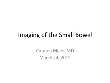 Imaging of the Small Bowel Carmen Meier, MD March 24, 2012.