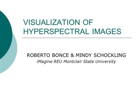 VISUALIZATION OF HYPERSPECTRAL IMAGES ROBERTO BONCE & MINDY SCHOCKLING iMagine REU Montclair State University.