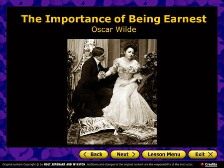 "the role of comedy in oscar wildes the importance of being earnest Oscar wilde's the importance of being earnest manuscript  titled a serious  comedy for trivial people and authored by oscar wilde, the initial  eventually  inhabit the role of john ""jack"" worthing in the play's inaugural run."
