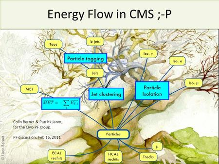 Energy Flow in CMS ;-P 1 Colin Bernet & Patrick Janot, for the CMS PF group. PF discussion, Feb 15, 2011.