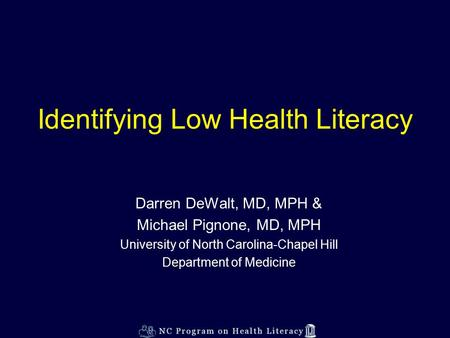 Identifying Low Health Literacy