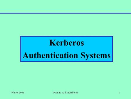 Winter 2006Prof. R. Aviv: Kerberos1 Kerberos Authentication Systems.