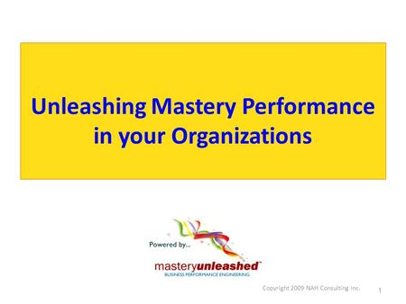 Copyright 2009 NAH Consulting Inc. 1 Unleashing Mastery Performance in your Organizations.