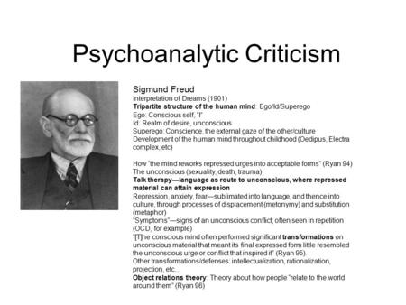 "Psychoanalytic Criticism Sigmund Freud Interpretation of Dreams (1901) Tripartite structure of the human mind: Ego/Id/Superego Ego: Conscious self, ""I"""