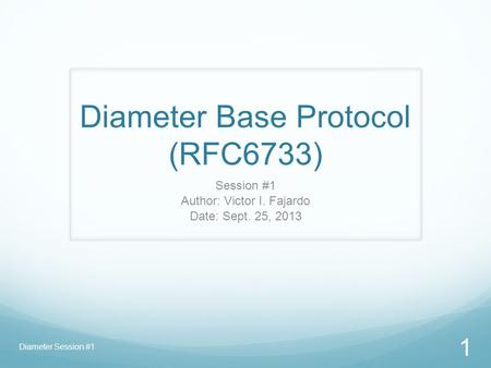 Diameter Base Protocol (RFC6733)