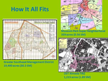 Greater Southeast Management District 19,400 acres (30.3 SM) OST Almeda TIRZ 1,215 acres (1.89 SM) Museum Park Super Neighborhood 359 acres (0.56 SM) How.