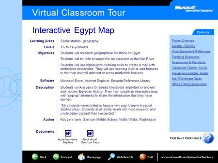 Interactive Egypt Map Project Overview Teacher Planning Work Samples & Reflections Teaching Resources Assessment & Standards Classroom Teacher Guide Pre-service.