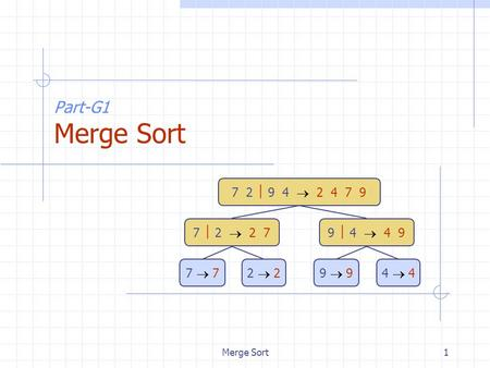 Merge Sort1 Part-G1 Merge Sort 7 2  9 4  2 4 7 9 7  2  2 79  4  4 9 7  72  29  94  4.