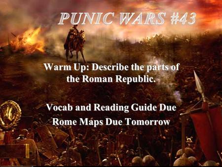 Warm Up: Describe the parts of the Roman Republic. Vocab and Reading Guide Due Rome Maps Due Tomorrow.