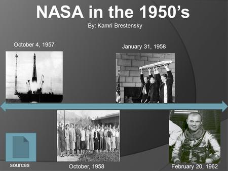 NASA in the 1950's October 4, 1957 January 31, 1958 October, 1958February 20, 1962 sources By: Kamri Brestensky.