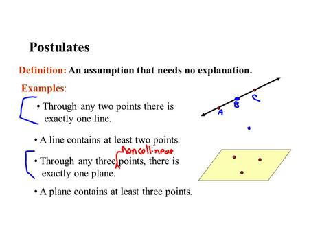 Postulates Definition: An assumption that needs no explanation. Examples: Through any two points there is exactly one line. Through any three points, there.