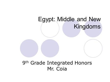 Egypt: Middle and New Kingdoms 9 th Grade Integrated Honors Mr. Coia.