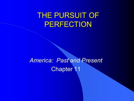 THE PURSUIT OF PERFECTION America: Past and Present Chapter 11.