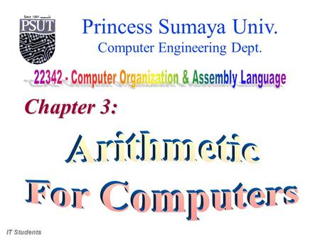 Princess Sumaya Univ. Computer Engineering Dept. Chapter 3: IT Students.