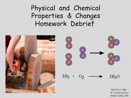 Physical and Chemical Properties & Changes Homework Debrief Tahoma Jr. High 8 th Grade Science Maple Valley, WA.