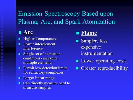 Emission Spectroscopy Based upon Plasma, Arc, and Spark Atomization Arc Arc Higher Temperature Higher Temperature Lower interelement interference Lower.