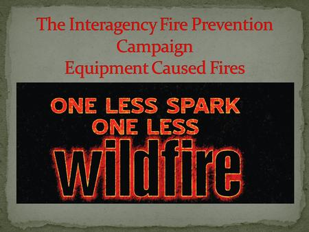 One Less Spark-One Less Wildfire fire prevention campaign is to create a proactive cooperative approach to prevent or reduce the catastrophic losses associated.