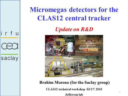 Micromegas detectors for the CLAS12 central tracker Brahim Moreno (for the Saclay group) CLAS12 technical workshop 03/17/ 2010 Jefferson lab Update on.