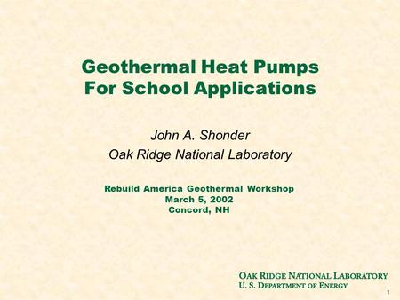 Geothermal Heat <strong>Pumps</strong> For School Applications