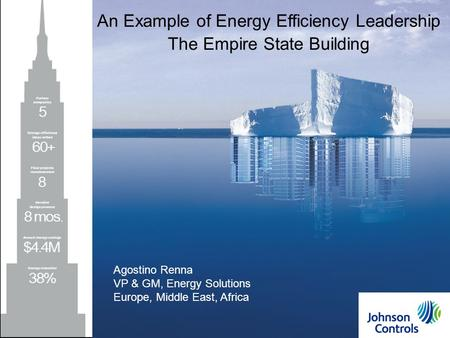 Johnson Controls1 1 An Example of Energy Efficiency Leadership The Empire State Building Agostino Renna VP & GM, Energy Solutions Europe, Middle East,
