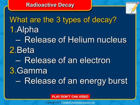 Copyright 2011 CreativeChemistryLessons.comCreativeChemistryLessons.com Radioactive Decay PLAY DON'T CHA VIDEO What are the 3 types of decay? 1.Alpha.