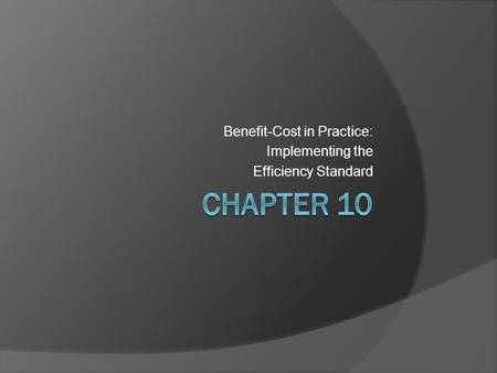 Benefit-Cost in Practice: Implementing the Efficiency Standard.