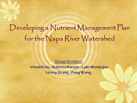 Developing a Nutrient Management Plan for the Napa River Watershed Group Members Vinod Kella  Rebecca Kwaan  Luke Montague Linsey Shariq  Peng Wang.