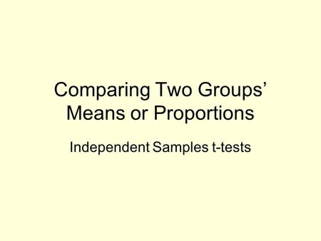 Comparing Two Groups' Means or Proportions Independent Samples t-tests.