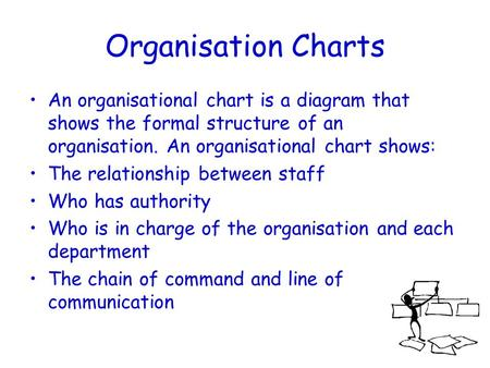 Organisation Charts An organisational chart is a diagram that shows the formal structure of an organisation. An organisational chart shows: The relationship.