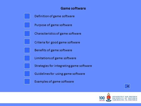 Game software Definition of game software Purpose of game software Characteristics of game software Criteria for good game software Benefits of game software.