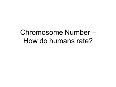 Chromosome Number – How do humans rate?