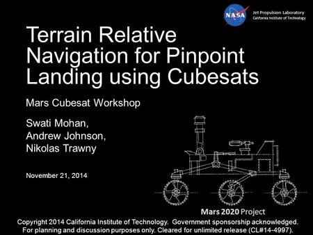 Terrain Relative Navigation for Pinpoint Landing using Cubesats