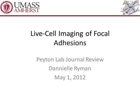 Live-Cell Imaging of Focal Adhesions Peyton Lab Journal Review Dannielle Ryman May 1, 2012.